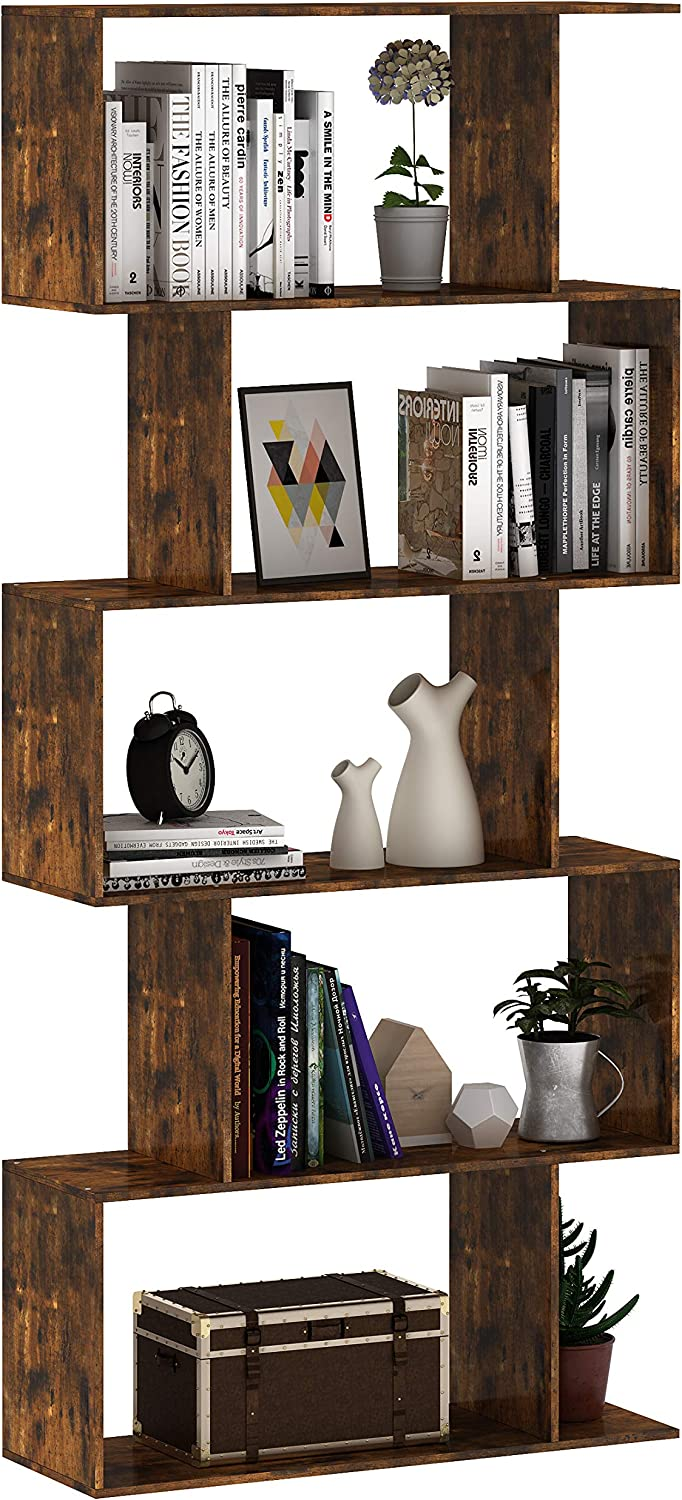 Gadroad S Shaped Wood Bookcase Industrial Z-Shelf Bookshelf for Home Office, Industrial Decor Furniture Display Shelf and Room Divider for Living Room,Rustic Brown