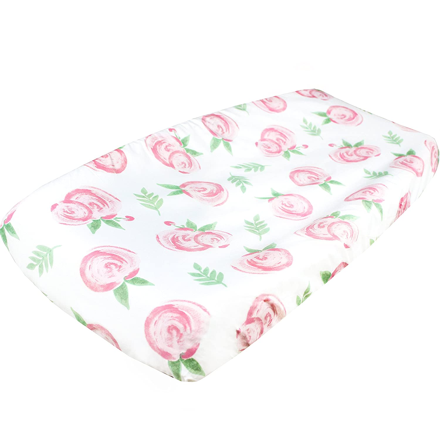 Premium Cotton Diaper Changing Pad CoverGrace Floral by Copper Pearl