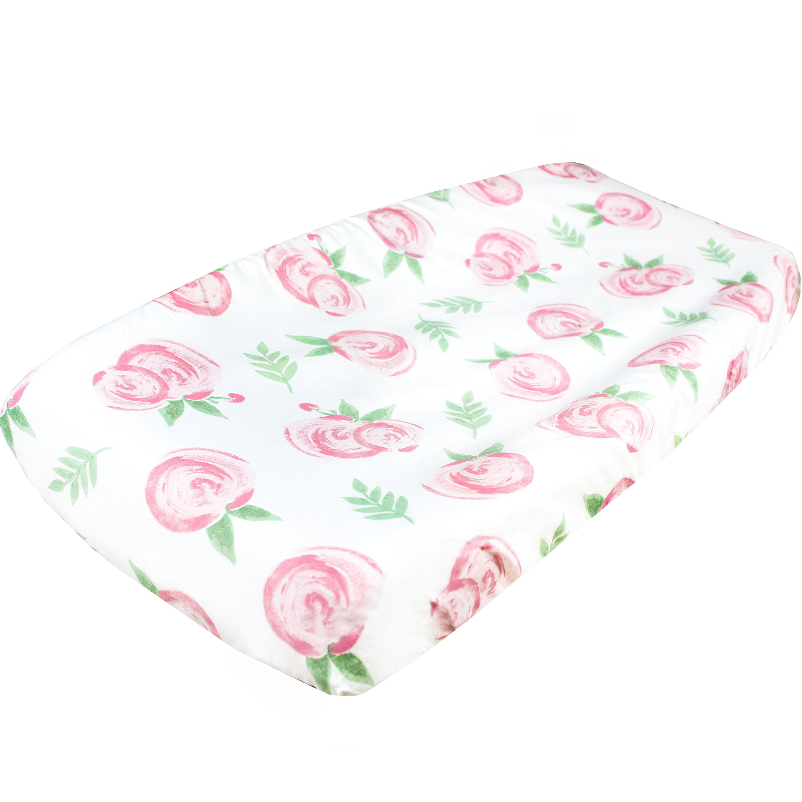 Premium Cotton Diaper Changing Pad Cover''Grace Floral'' by Copper Pearl