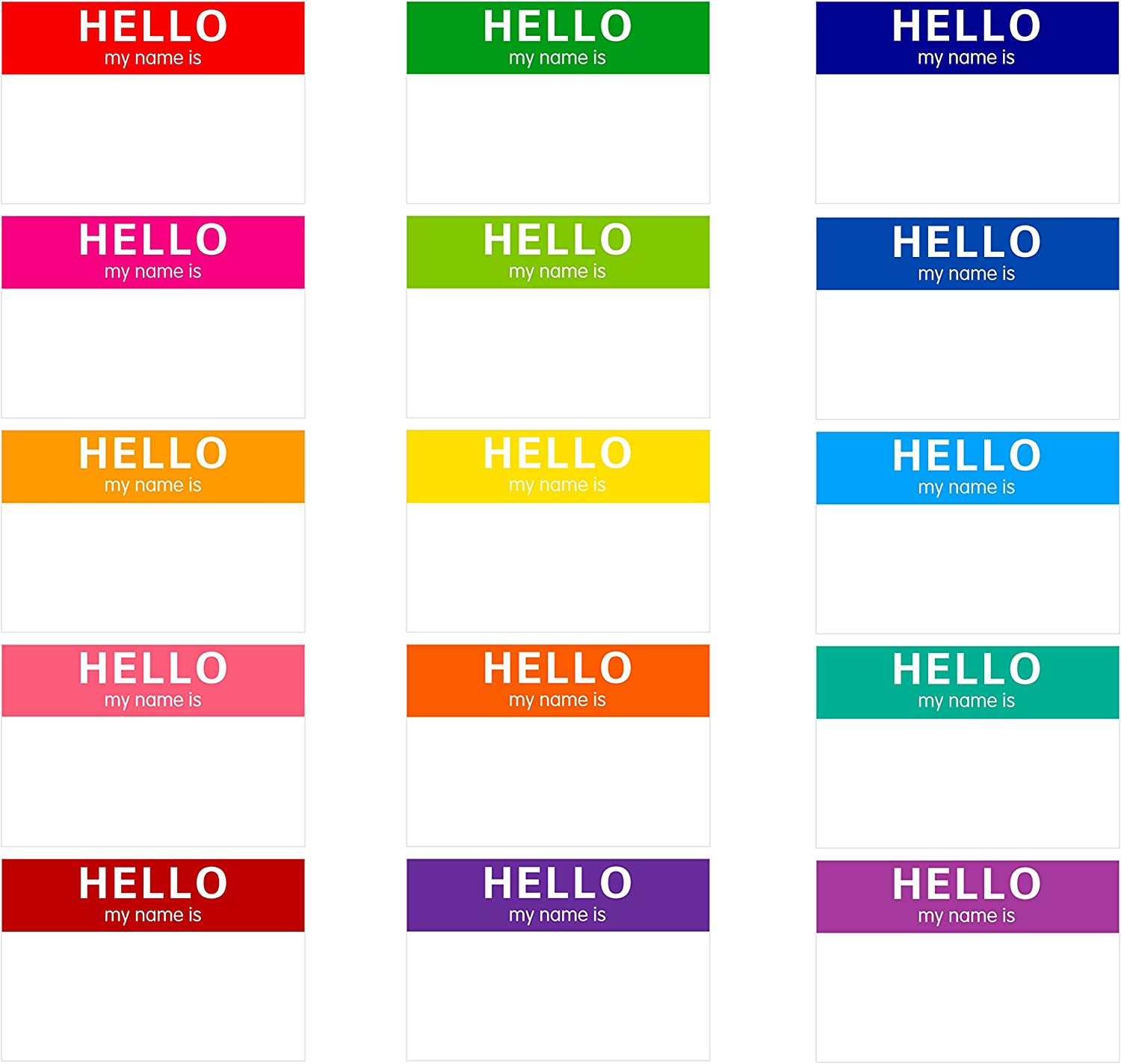 """15 Colors 405 PCs Name Tag Rainbow Sticker in for Themed Party School Office Home (3""""x2"""" Each)"""