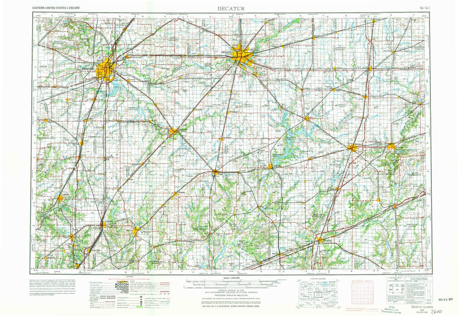 Map Of Decatur Il Amazon.: YellowMaps Decatur IL topo map, 1:250000 Scale, 1 X 2