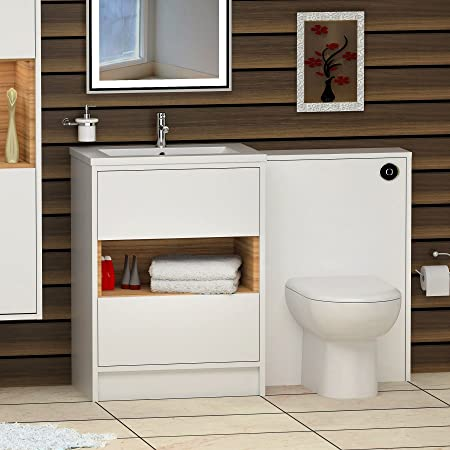 Hudson Reed 1000mm Floor Standing Vanity Unit 2 Drawer Open Shelf