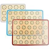 SUPER KITCHENマカロン クッキー シートクッキングマット 3枚セット 食品級シシリコン 製菓マット キッチン パン/クッキー/ピザ ベーキングマット オーブン 電子レンジ 対応 耐熱 プレースマット 42x30cm レッド青グレー