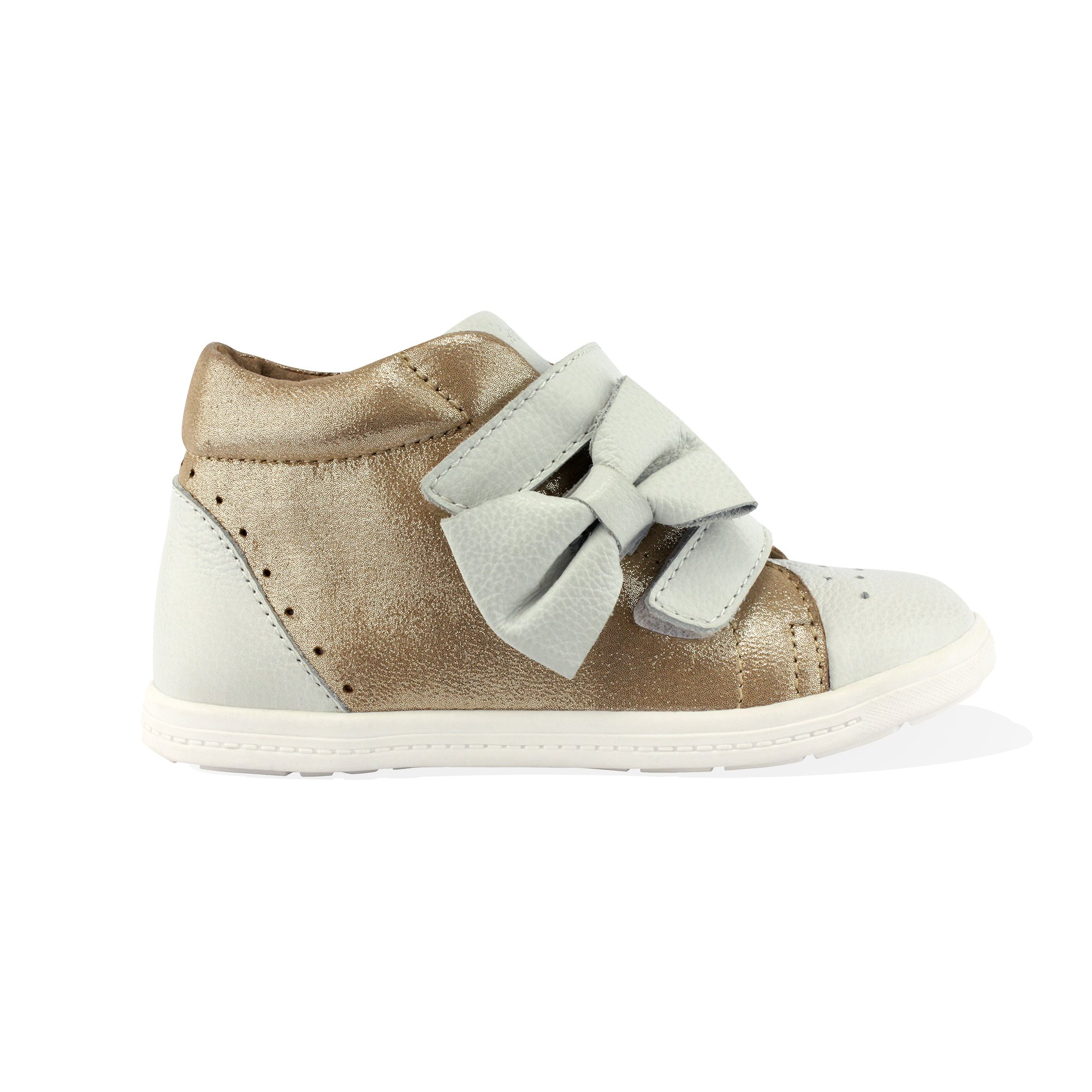Lenny Lu Girls Fashionista High Top Sneaker Sneaker in Gold and Beige, Size 12