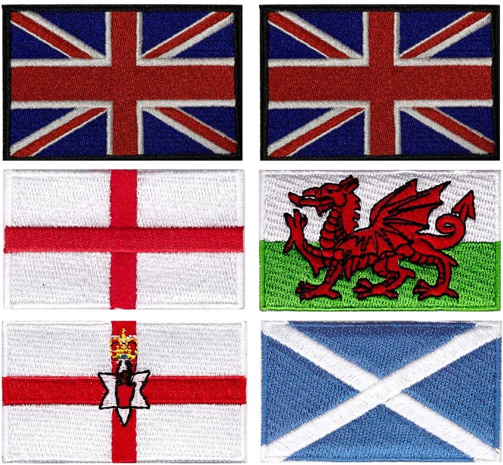 Parches bordados de la bandera de Irlanda del Norte de Escocia de Inglaterra para planchar o coser, 6 unidades, de Xunhui: Amazon.es: Hogar