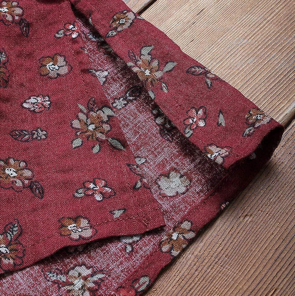 Reooly Manga larga2019 Ocasional de Las Mujeres del Estampado de Flores del O-Cuello Bot/ón de Manga Larga de Lino Camiseta de la Tapa de la Blusa