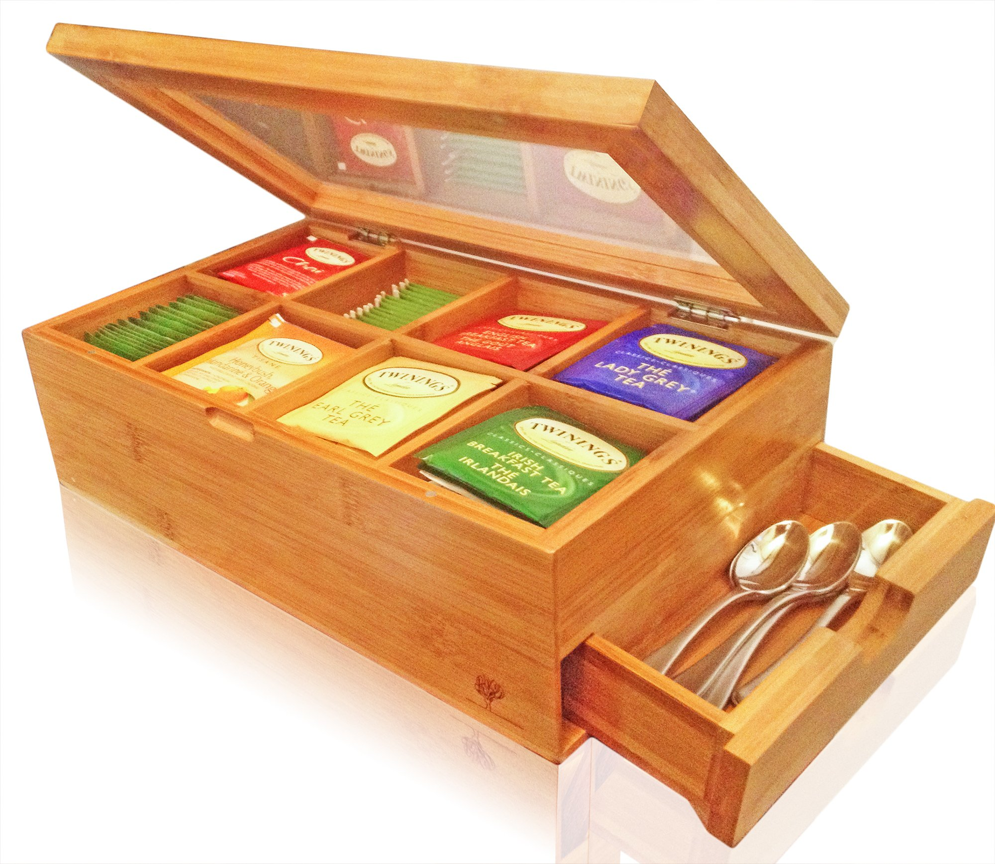 SOLID 100% BAMBOO Tea Box Natural Chest with Clear Hinged Lid, 8 Storage Sections with Expandable Drawer by Kwijns Kreations