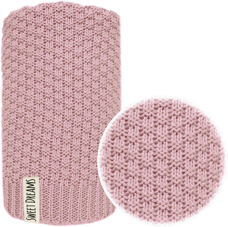 Manta 100% para bebé en suave y cómoda manta de punto ideal como manta para bebé, primera manta, manta de lana o manta para bebé (1032) (Rosa oscuro, 100 x 120)