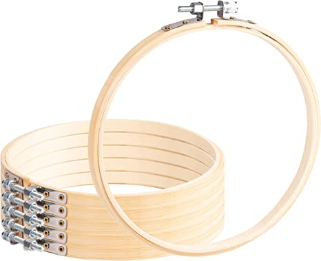 Craft DIY 6-Inch Adjustable Bamboo Circles for Sewing Embroidery Hoops Quilting Needlework 6-Piece Cross Stitch Hoops
