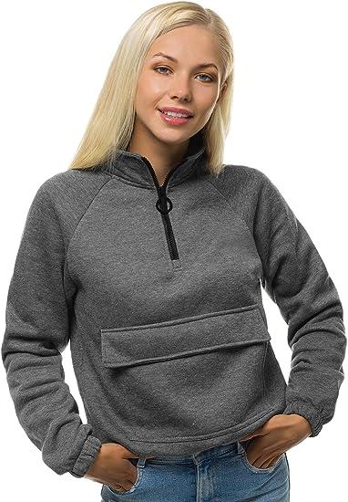 OZONEE Damen Sweatshirt Pullover Langarm Farbvarianten Langarmshirt Pulli ohne Kapuze Baumwolle Baumwollmischung Classic Motiv Rundhals-Ausschnitt Sport Rei/ßverschluss JS//KSW2021