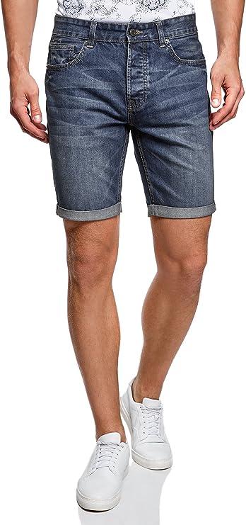 TALLA 36. oodji Ultra Hombre Pantalones Cortos Vaqueros Básicos