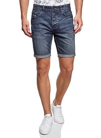 oodji Ultra Hombre Pantalones Cortos Vaqueros Básicos