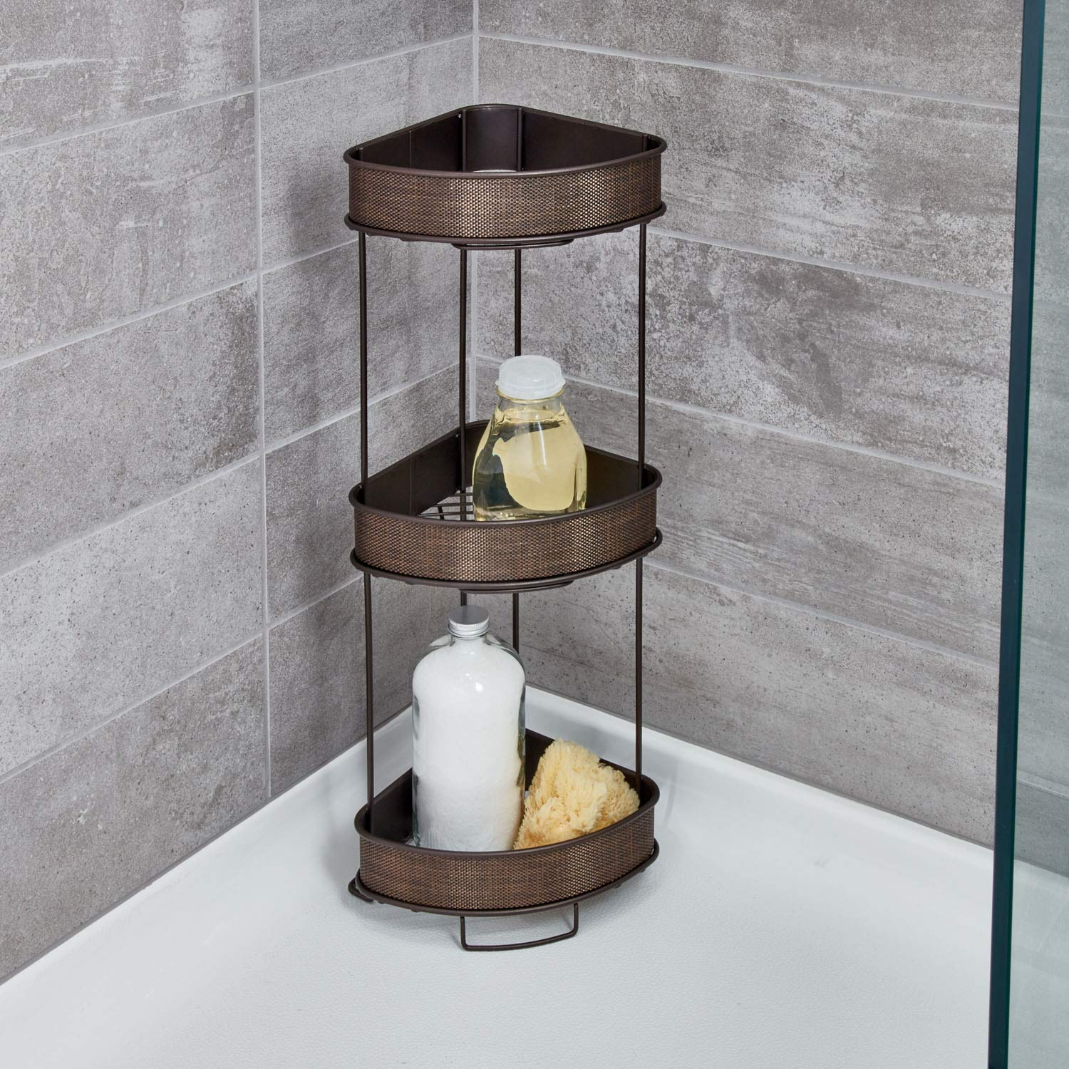 iDesign Twillo Metal Wire Corner Standing Shower Caddy 3-Tier Bath Shelf Baskets for Towels, Soap, Shampoo, Lotion, Accessories, by iDesign (Image #2)