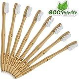 Natural Bamboo Toothbrush [8-Pack] Soft BPA Free Nylon Bristles & Individually Numbered Manual Toothbrushes by MitButy