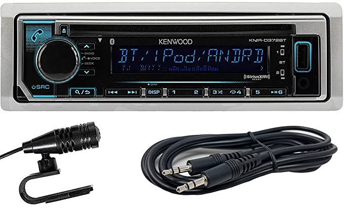 Kenwood KMR-D372BT Marine Single-Din In-Dash CD Receiver With Bluetooth,  SiriusXM Ready and EMB 3 5mm Aux Cable