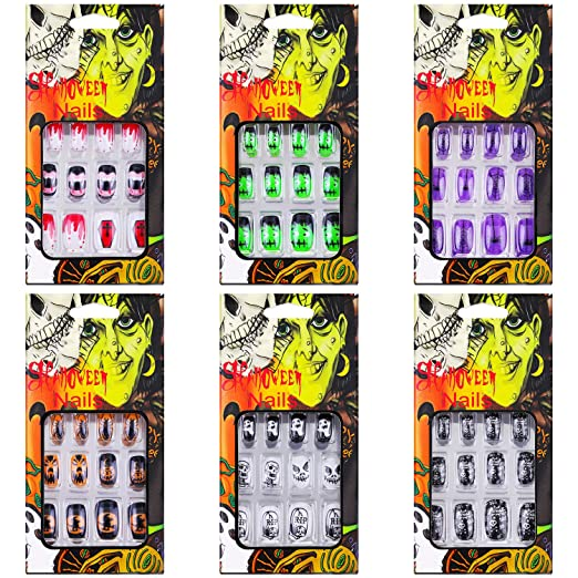 Amazon.com : 72 Pieces Halloween False Nails Artificial Fake Short Fingernails Nail Tips Kit Halloween Gothic Fake Nails with 6 Jelly Glue for Nail Art Salon DIY Decoration, 12 Sizes in 6 Boxes : Beauty