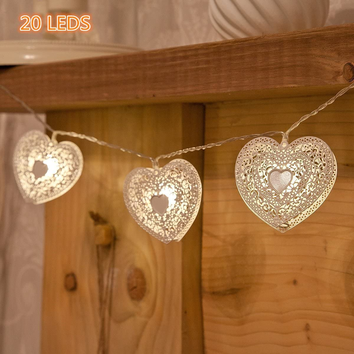 SPIRITUP 20 LED Love Heart String Lights, Christmas Lights, Indoor Outdoor Decorative Light, USB Powered, 16 Ft, Warm White Light – for Patio Garden Party Xmas Tree Wedding Decoration