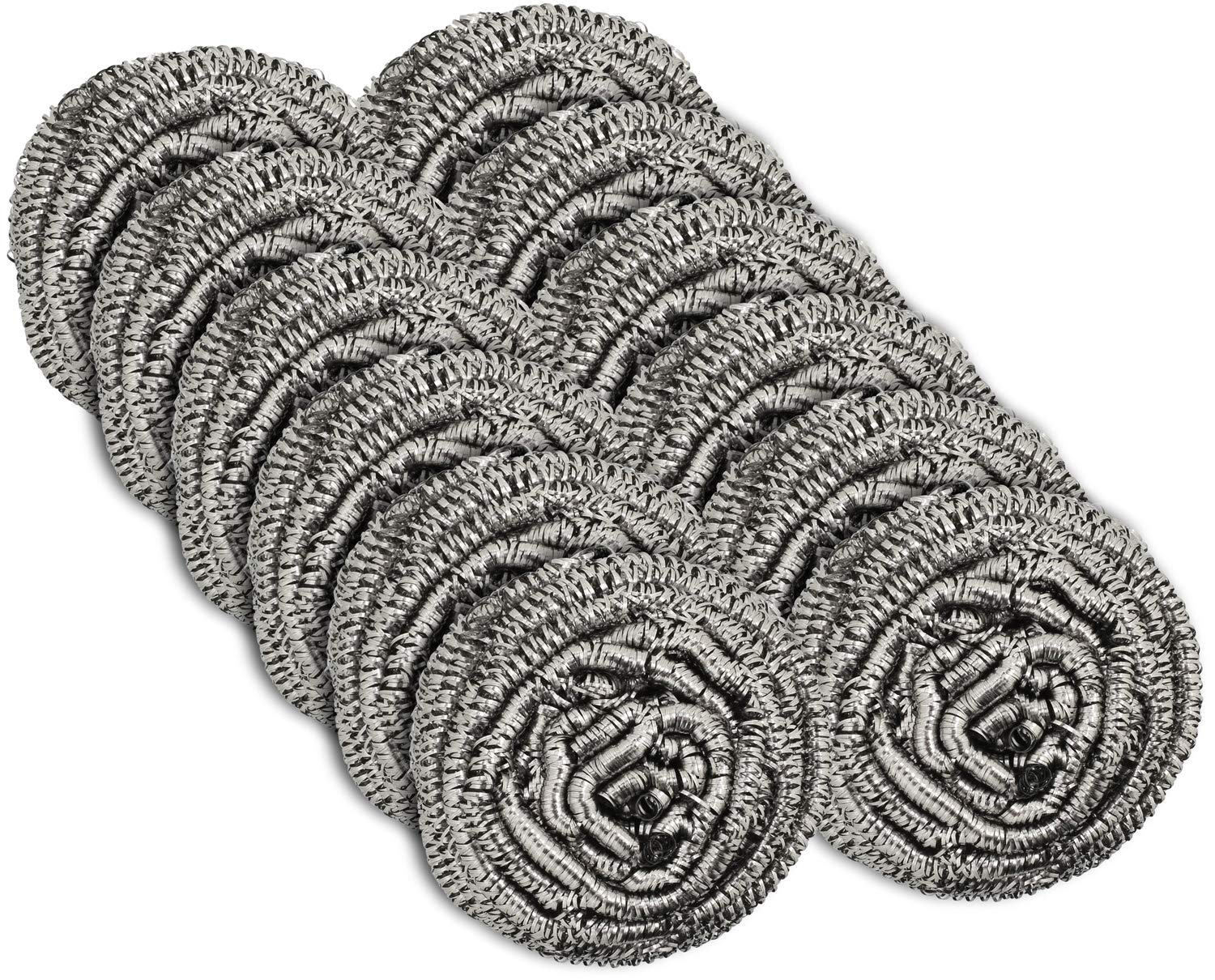 12 Pack Stainless Steel Scourers by Scrub It – Steel Wool Scrubber Pad used for Dishes, Pots, Pans, and Ovens. Easy scouring for Tough Kitchen Cleaning.