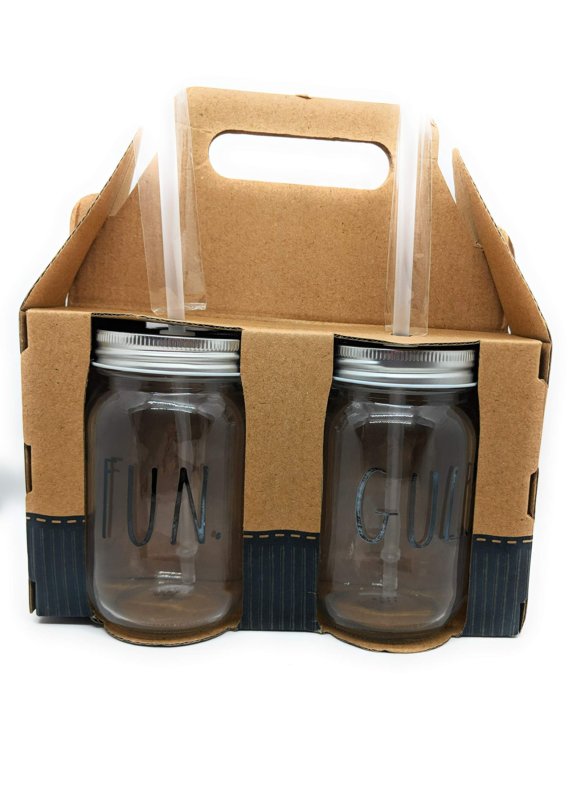 Rae Dunn by Home Essentials Mason Jars Drinking Glasses with Metal Lids and Hard Plastic Straws Glassware-Set of 4-15fl oz-''SIP''''FLOW''''FUN''''GULP'' in LL Large Letters