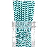 Dress My Cupcake 25-Pack Vintage Paper Straws, Diamond Blue Aqua Chevron