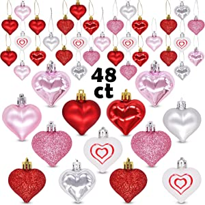 Ivenf Valentine's Day Decorations Heart Shaped Ornaments, 48 Pcs Red Pink Silver White Plastic Hanging Baubles, Tree Ball Heart Glitter Decor for Home Party Decorations Gift