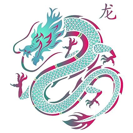 amazon com dragon stencil 6 5 x 6 5 inch s reusable chinese