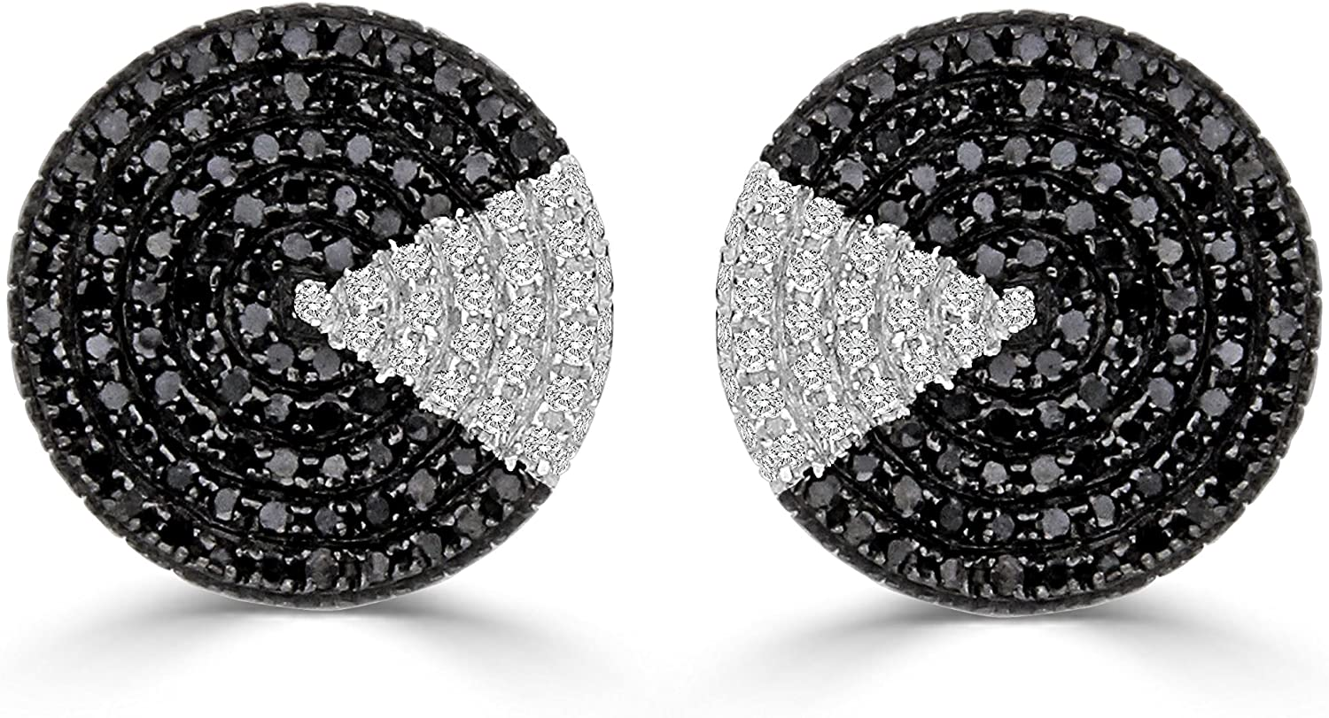 Black /& White Diamond Round Unisex Cluster Stud Earrings Sterling Silver 3//4 cttw, H-I /& Black Color, I2-I3 /& Treated Clarity
