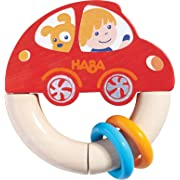 HABA Red Racer Wooden Clutching Toy, Rattle and Teether (Made in Germany)