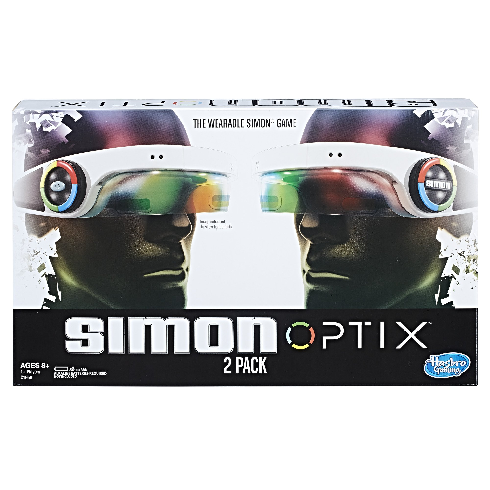 Simon Optix Game - 2 Headsets Included - Wearable Version of a Classic Game - Raise Your Hands in The Correct Color Pattern to Succeed - Play Solo or with Your Friends - Batteries Not Included by Hasbro Gaming