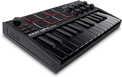 AKAI Professional MPK Mini MK3 Black - Teclado Controlador MIDI USB de 25 Teclas con 8 Drum Pads, 8 Perillas y Software de Producción Musical ...
