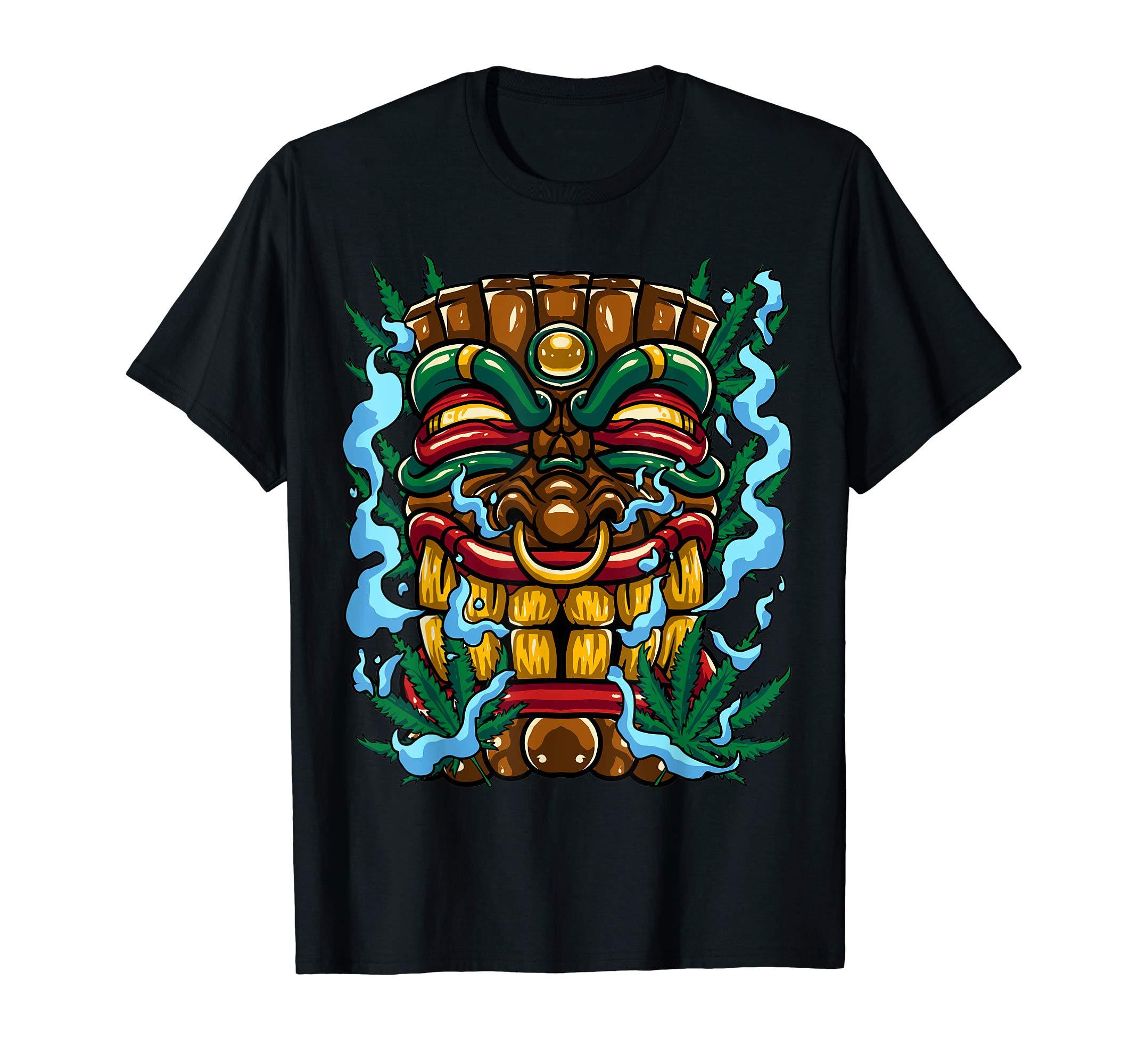 Hemp Cannabis Tiki Mask Smoke Marihuana Weed T-Shirt Gift
