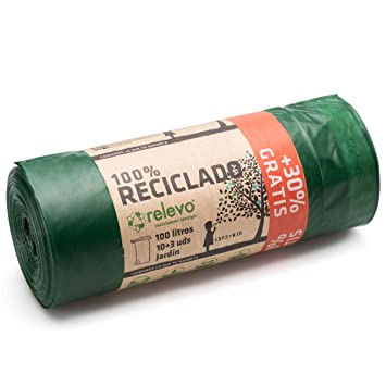 Relevo 100% Reciclado Bolsas de Basura, extra resistentes ...