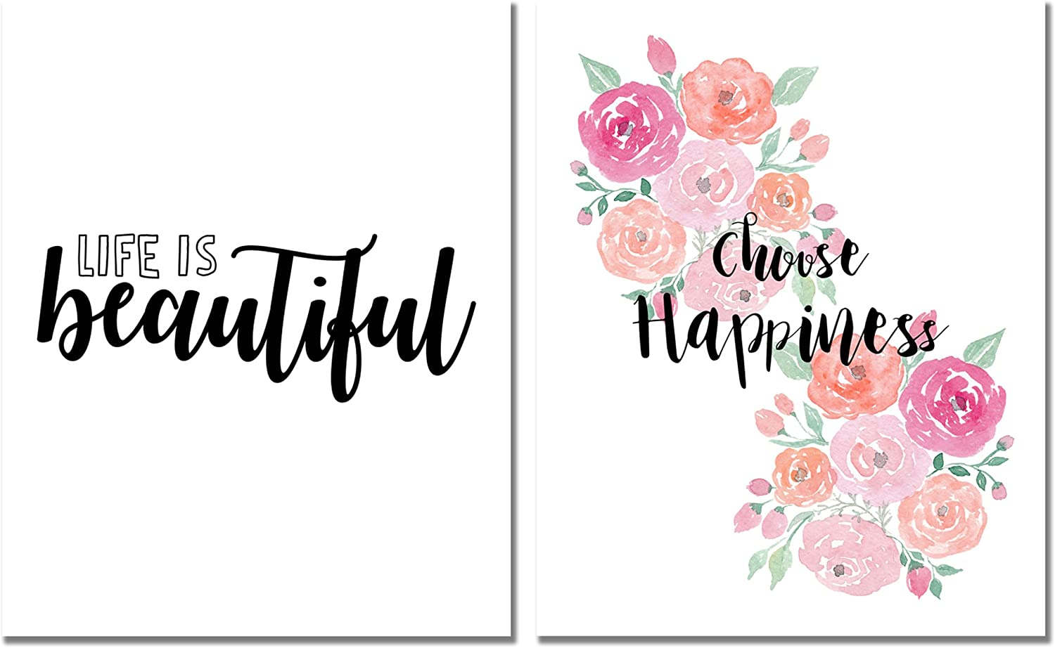 Life is Beautiful Print & Choose Happiness Set of 2 Inspirational (8 inches x 10 inches) Photos - Wall Art Decor Posters