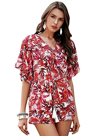 66e462836f7 Amazon.com  Simplee Apparel Women s Summer Casual Loose V Neck Boho  Tropical Floral Print Jumpsuit Romper  Clothing