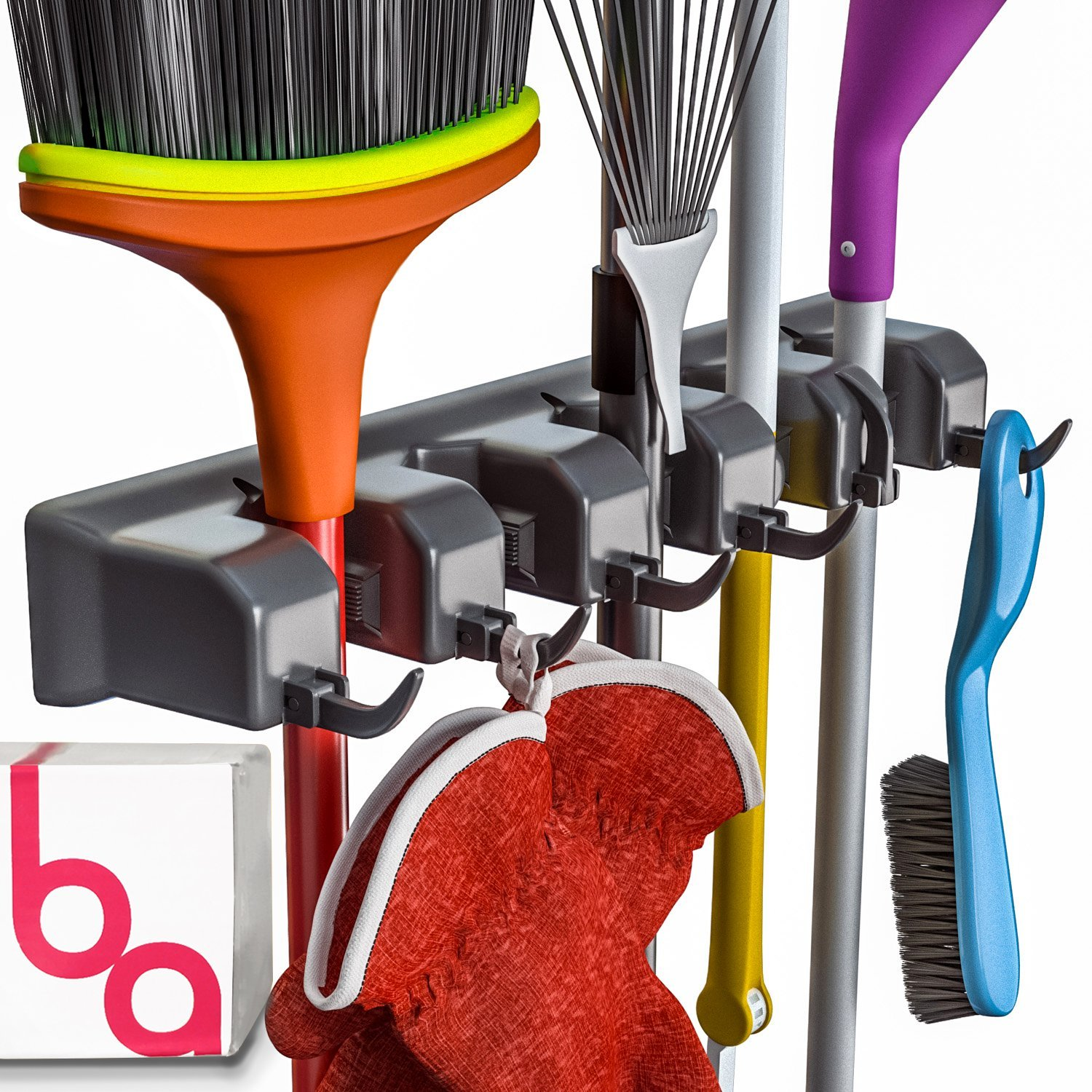 Berry Ave Broom Holder and Garden Tool Organizer for Rake or Mop Handles Up to 1.25-Inches (Black) by Berry Ave
