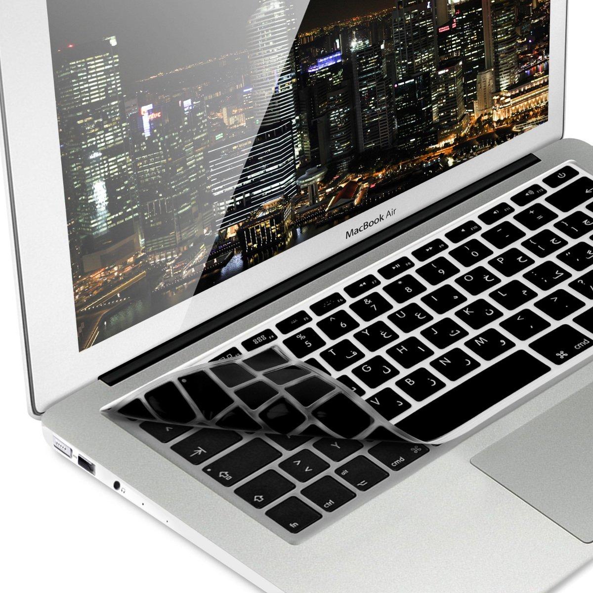 kwmobile Protection Clavier en Silicone QWERTY (Arabe) pour Apple MacBook Air 13''/ Pro Retina 13''/ 15'' (à mi 2016) Noir KW-Commerce 41430.01_m000108