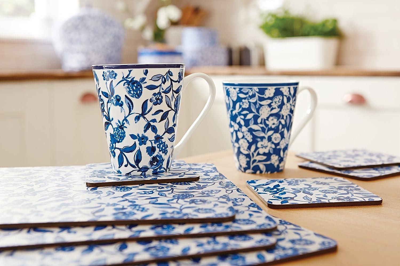Fabric Cobalt 10x10x4 cm COOKSMART Secret Garden Set of 4 Coasters