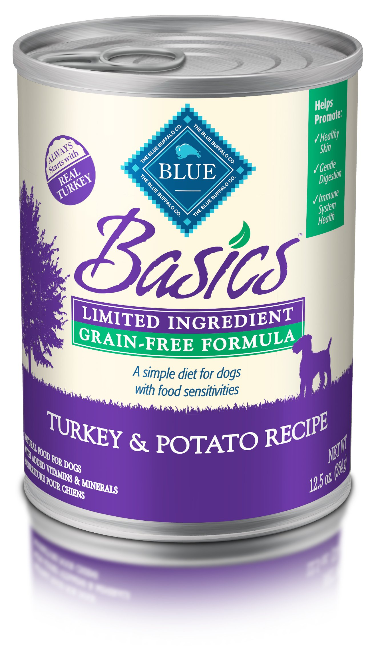 BLUE Basics Limited Ingredient Diet Adult Grain Free Turkey & Potato Wet Dog Food 12.5-oz (Pack of 12)