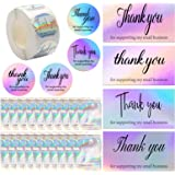620 PCS Thank You Cards Set, Rainbow Holographic Silver Thank You Cards 500 Piece 1.5 inch Round Decorative Sticker Label Res