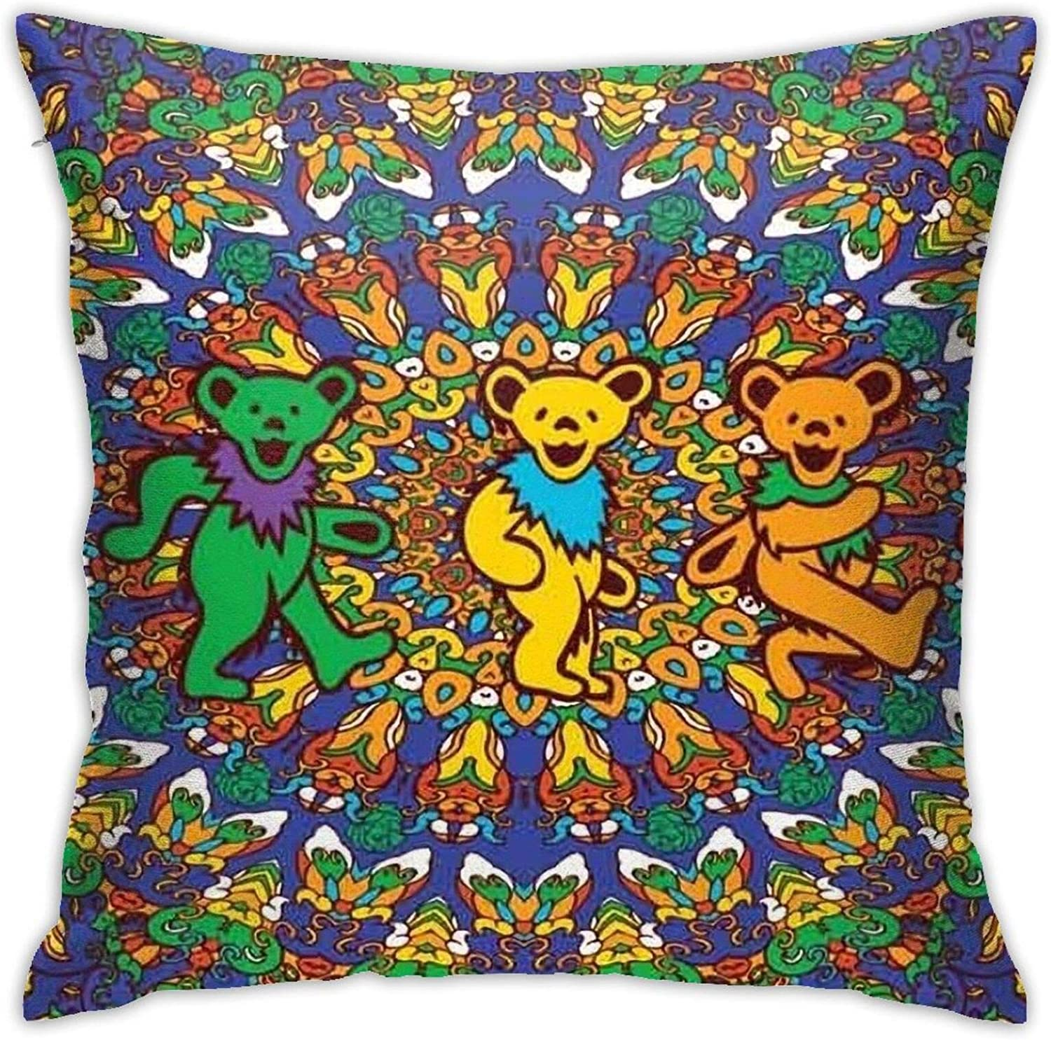 Wmake Daily Street Throw Pillow Covers Grate-ful Dead and Bear,Pillow Cases Decorative Soft Pillowcase Cushion Protecter 18