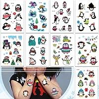 SZSMART 9 fogli Tatuaggi Temporanei per Bambini , Tatuaggi Finti Temporanei Adesivi, 12cm*7.5cm, Regalo per Festa di Compleanno o Bomboniera per le Ragazze Bambine (Pinguino)