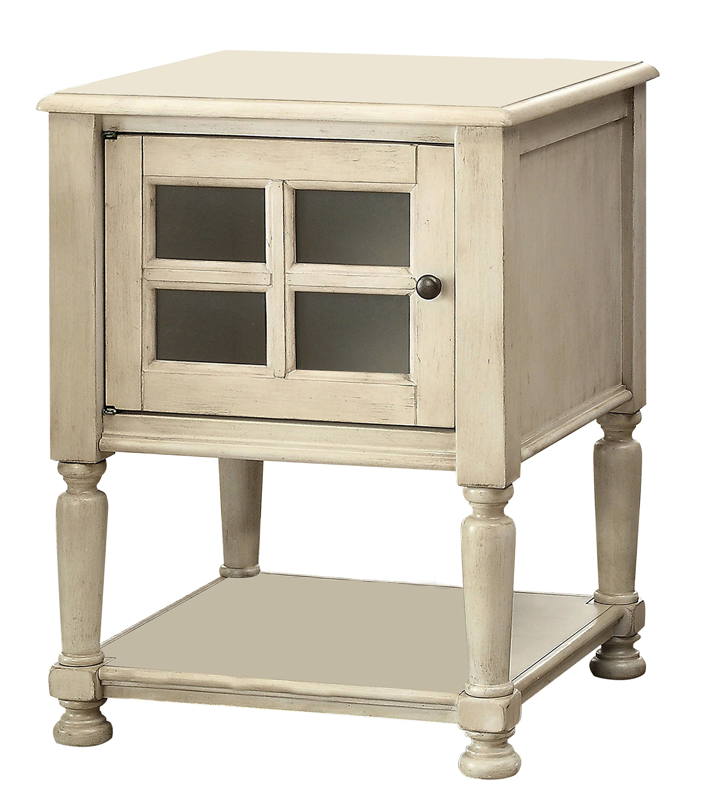 Furniture of America Bertalli Single Cabinet Side Table Transitional Style - Antique White