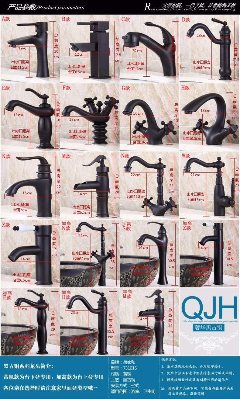 ETERNAL QUALITY Bathroom Sink Basin Tap Brass Mixer Tap Washroom Mixer Faucet Black color antique-brass hot and cold check classic basin mixer Y Kitchen Sink Taps