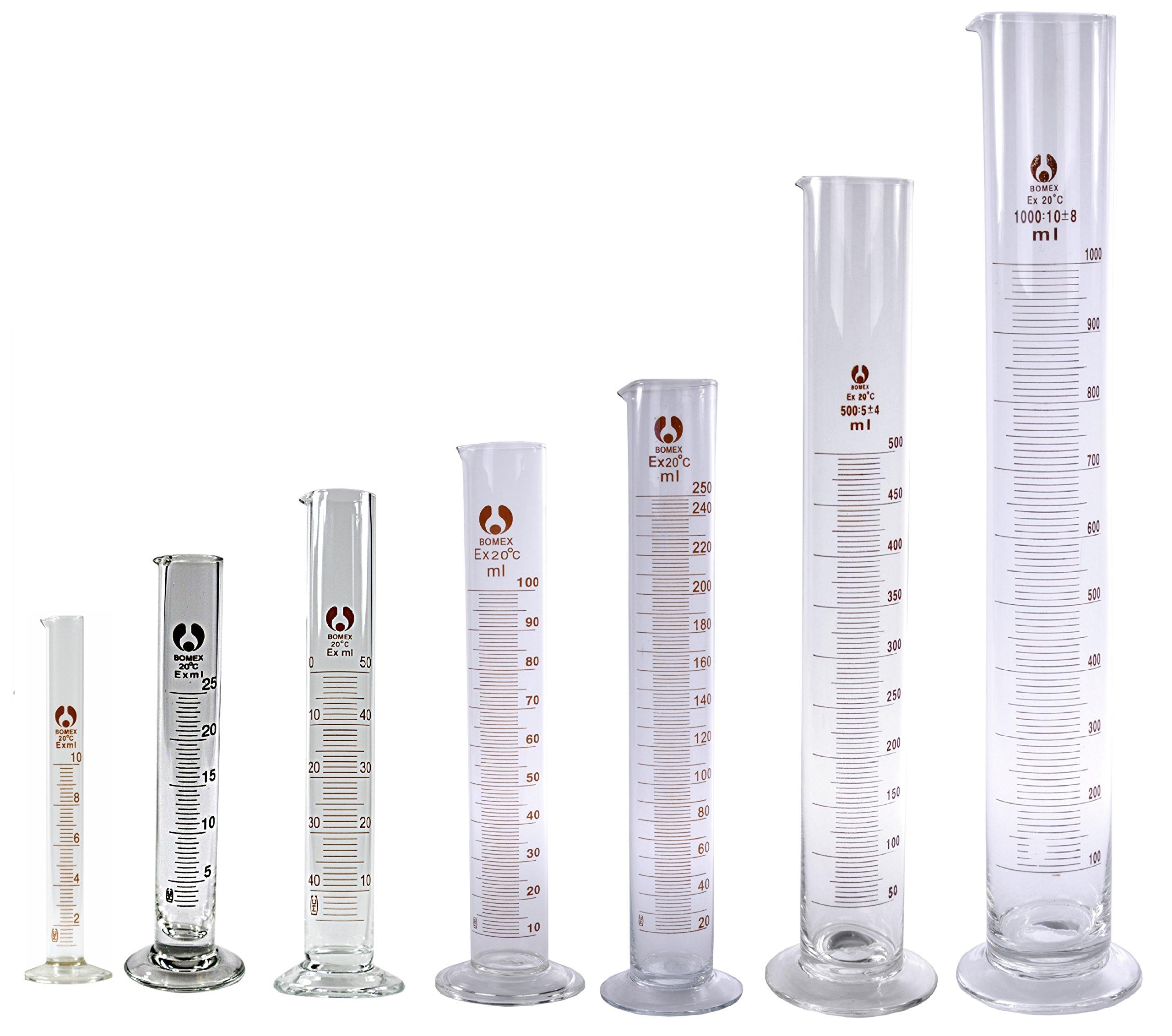 7 Glass Graduated Cylinders 10 25 50 100 250 500 1000mL