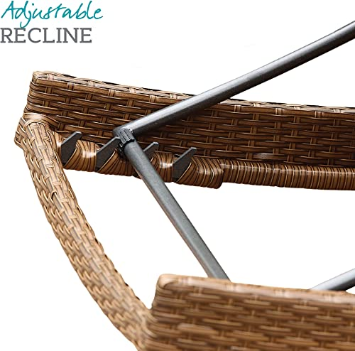 Abbyson Living Outdoor Adjustable Chaise Lounge Chair Set of 2 Wicker Patio Chair