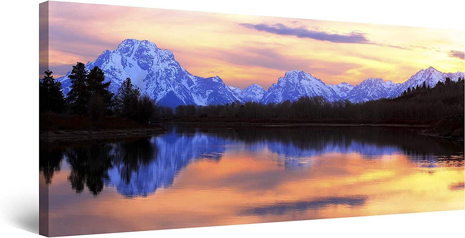 Amazon Com Startonight Canvas Wall Art Mountain Mirror Landscape Framed 24 X 48 Inches Posters Prints