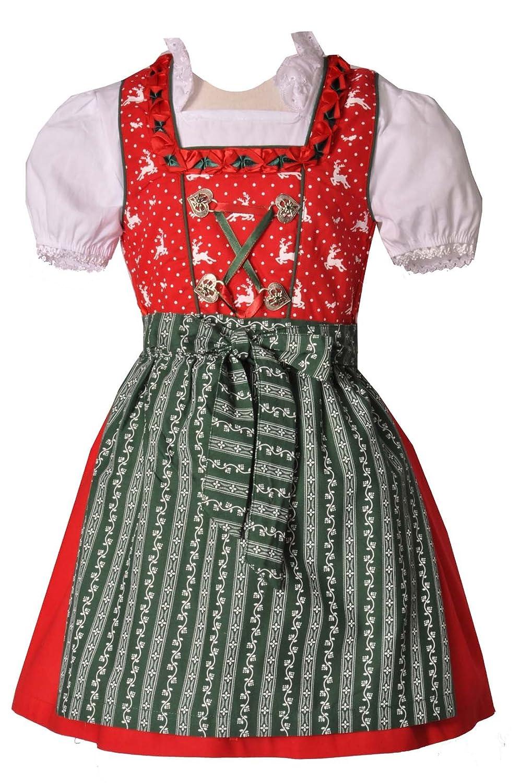 Kinderdirndl Pfofeld rot/grün 3-tlg. Trachtenset Kitzo Alpen