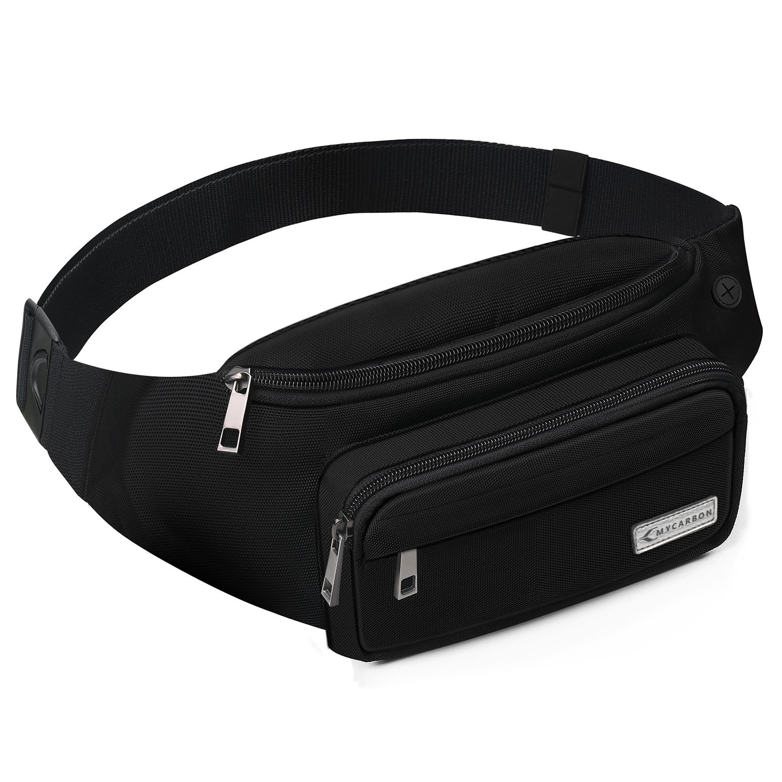 MYCARBON Fanny Packs for Women and Men Cute Large Capacity Waist Pack Non-bounce Running Belt for Travelling Non-slip Cotton Belt Fanny Bag Durable Waist Pouch for Hiking Cycling Running Working Black