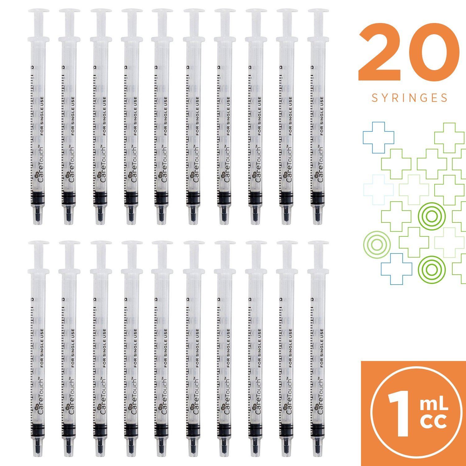 1ml Syringe with Luer Slip Tip - 20 Sterile Syringes by Care Touch – No Needle, Great for Dispensing Oral Medicine and Home Care