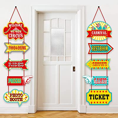 Blulu Carnival Decorations, Laminated Circus Carnival Signs Circus Theme Party Signs Carnival Party Supply Decor Paper Cutouts with 2 Ribbons and Glue Point Dots (Style A): Toys & Games